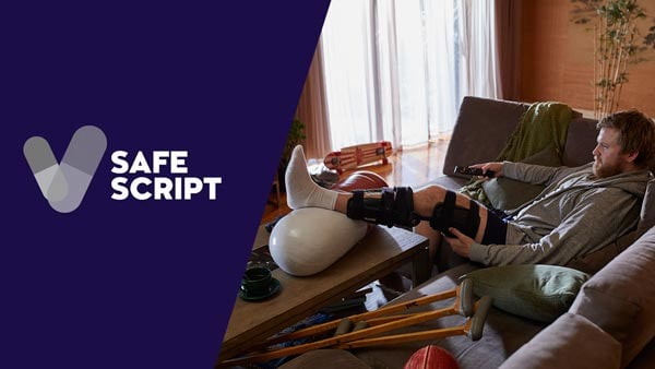 A man on crutches sitting on a couch, and the safe script logo