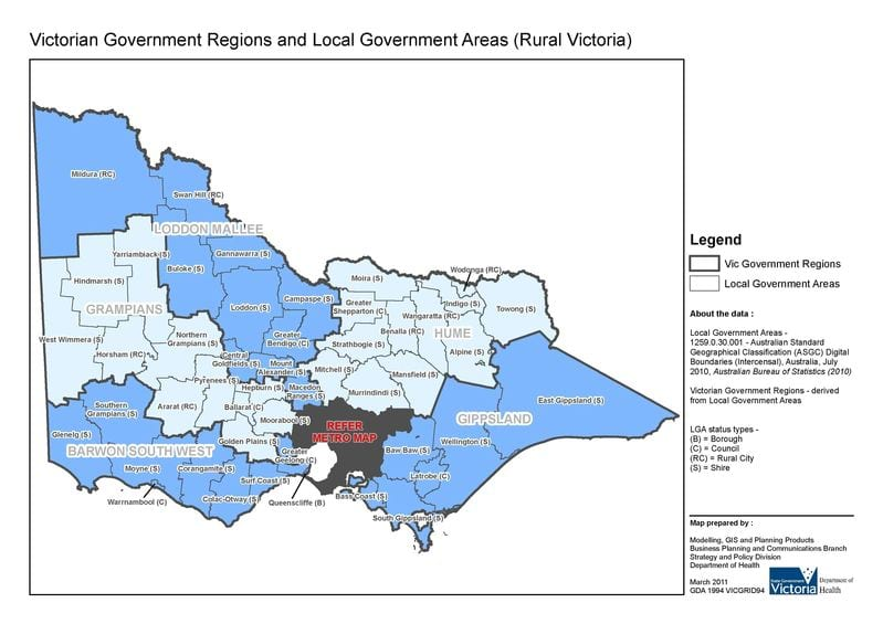 Department of Health & Human Services designated rural health region